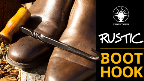 Boot hook - easy blacksmithing and wood lathe project