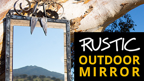 Rustic outdoor mirror in steel and recycled timber
