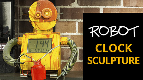 Build a Robot sculpture with digital clock